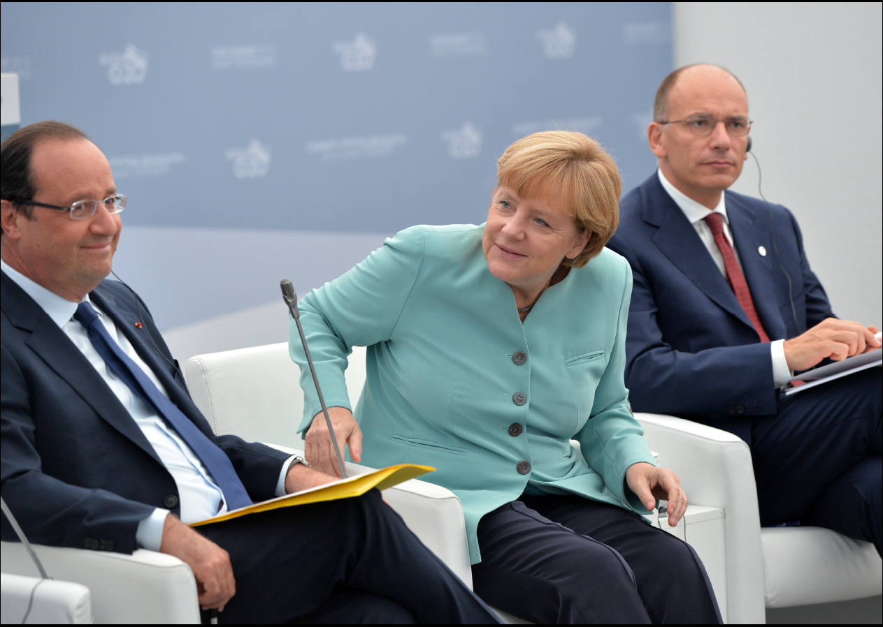 Hollande and Merkel at the G20